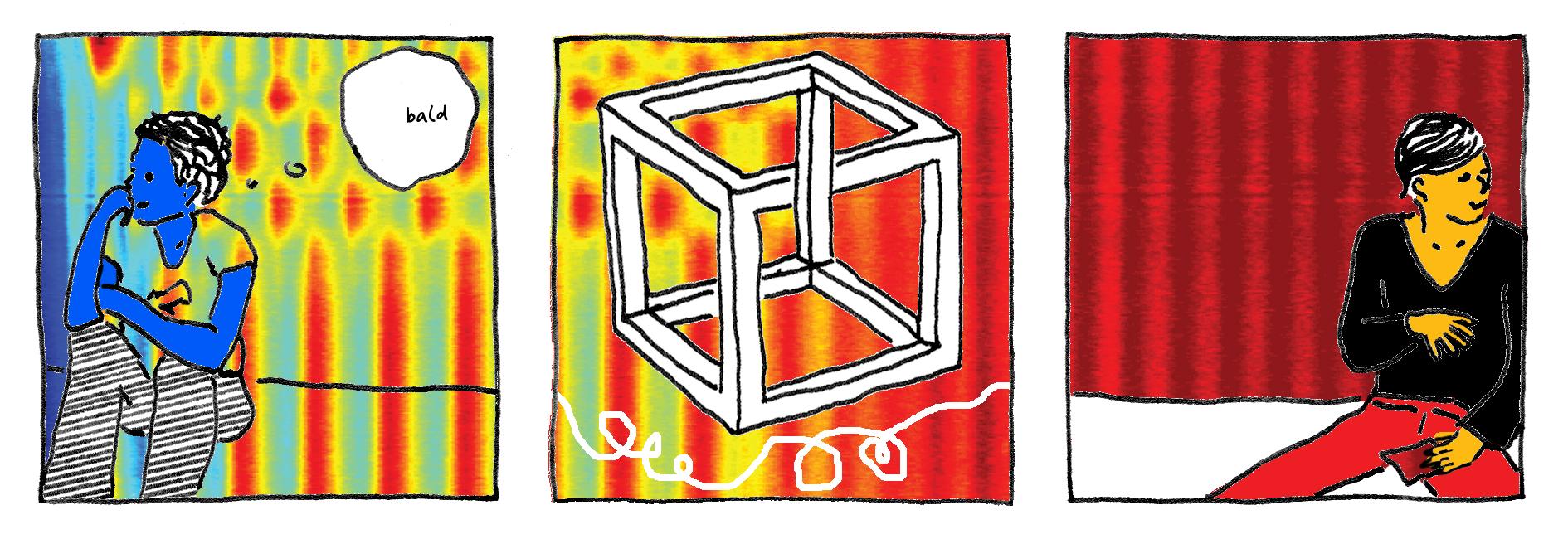 Tintezeichnung von zwei auf dem Boden sitzenden Personen, jeweils in einem Panel. Dazwischen ein Würfel mit optischer Illusion und dahinter regebogenfarbige Wellen und Tupfen.