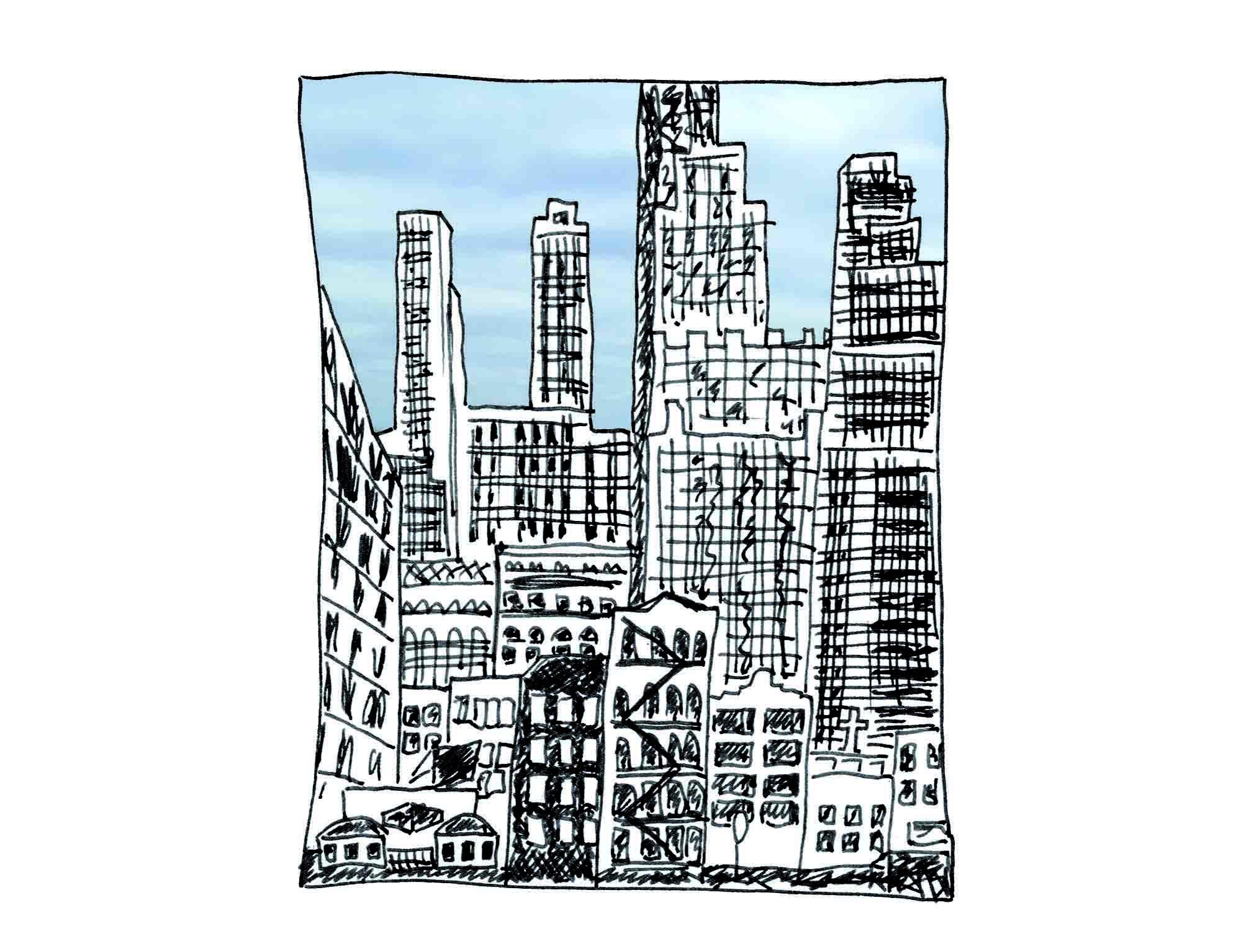 Tintezeichnung der New Yorker Skyline, Ausschnitt