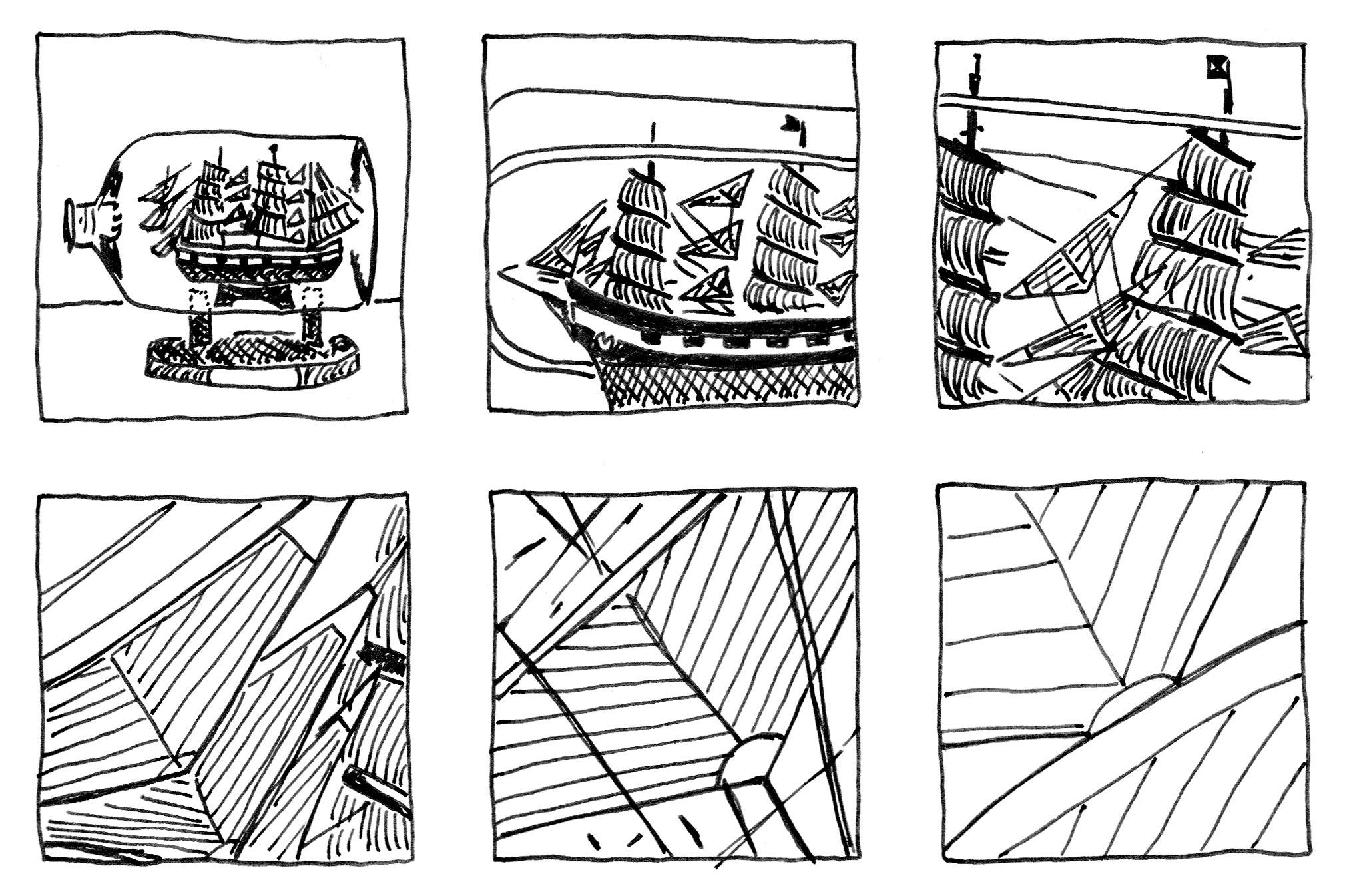 Finelinerzeichnung in 6 Paneln. Im ersten ist ein Schiff in einer Flasche zu sehen. Dann wird immer mehr herangezoomt. Im letzten Panel sind nur Ausschnitte der Segel zu sehen