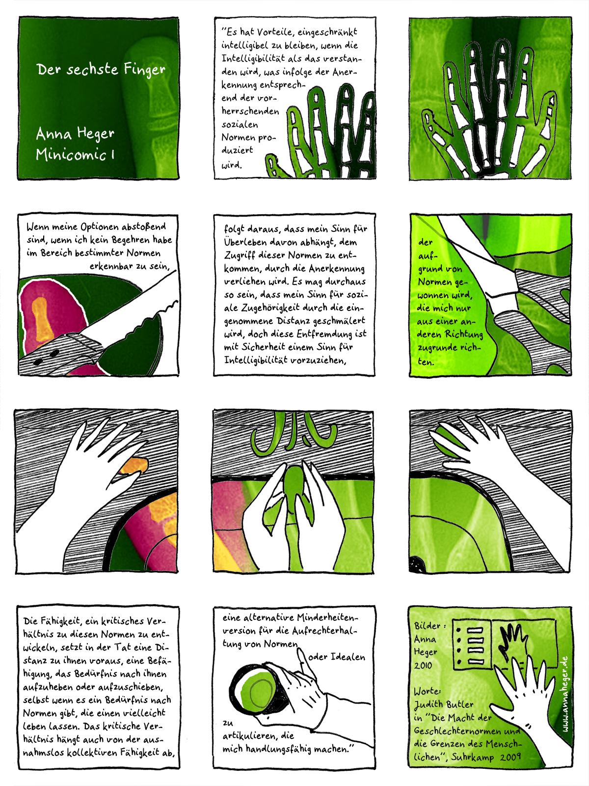 Minicomic 01 : Der sechste Finger, visuelles Comic, das ganze Comic wird im folgenden in reinen Text transkribiert