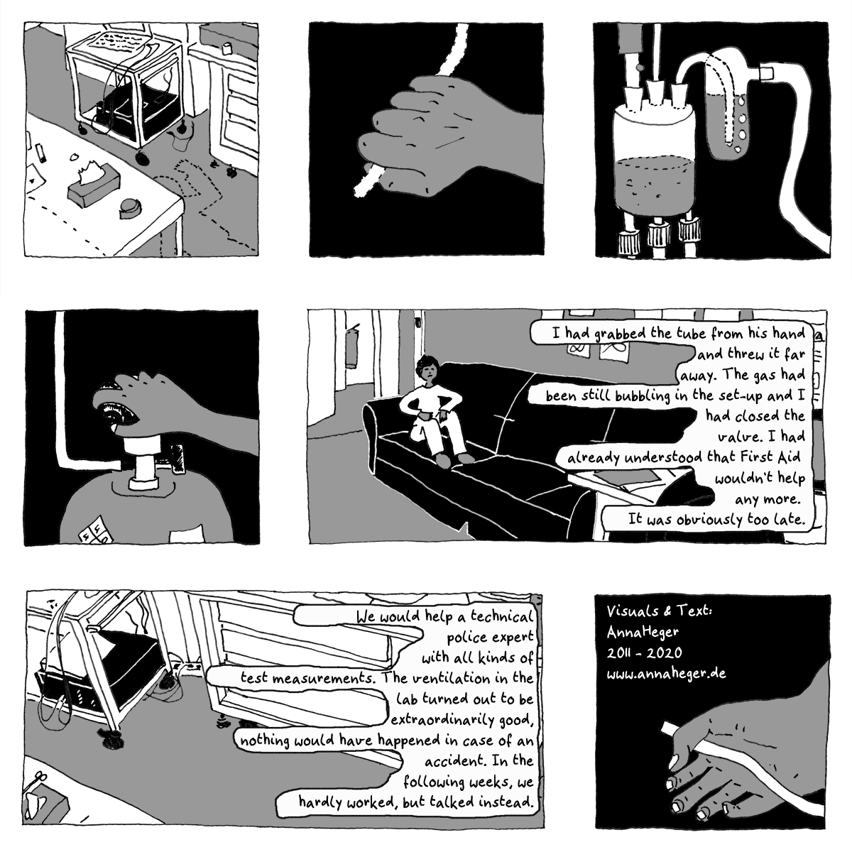 Page 1 of Minicomic 5, called Laboratory Ventilation, the entire comic is transcribed to plain text