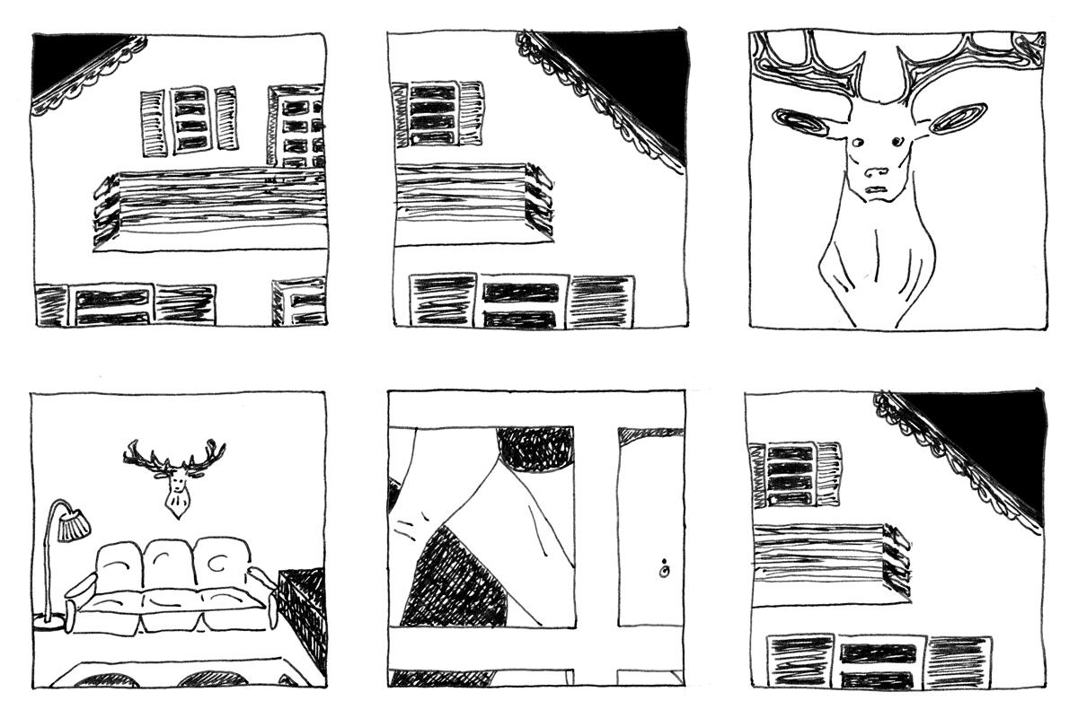Tintezeichnung in 6 Paneln. Eine Jägerhütte mit Holzbalkon. Ein Hirschkopf an der Wand. Der Hirschkopf über dem Sofa.