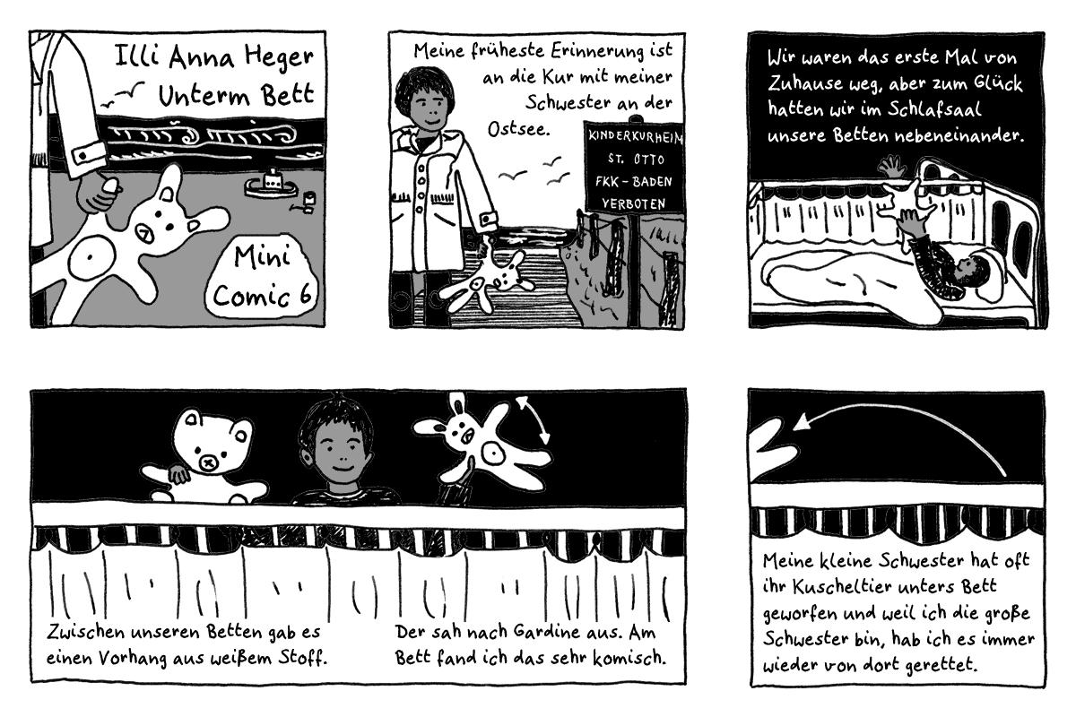 Minicomic 6 - Unterm Bett, das ganze Comic wird im folgenden in reinen Text transkribiert