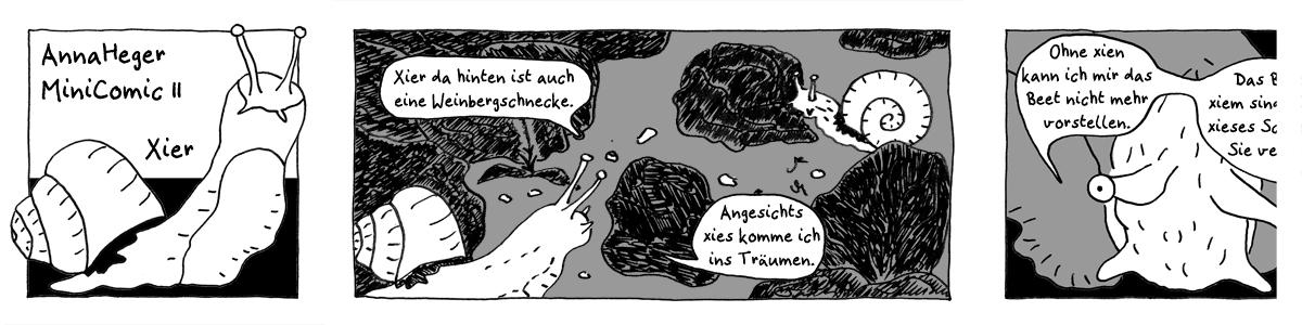 Ausschnitt aus dem Minicomic 11 Xier, gezeichnet, Schnecke kriecht durchs Salatbeet