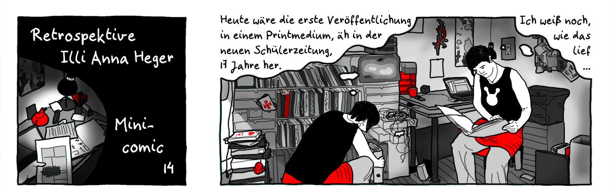 Minicomic 14 Retrospektive, das ganze Comic wird im folgenden in reinen Text transkribiert