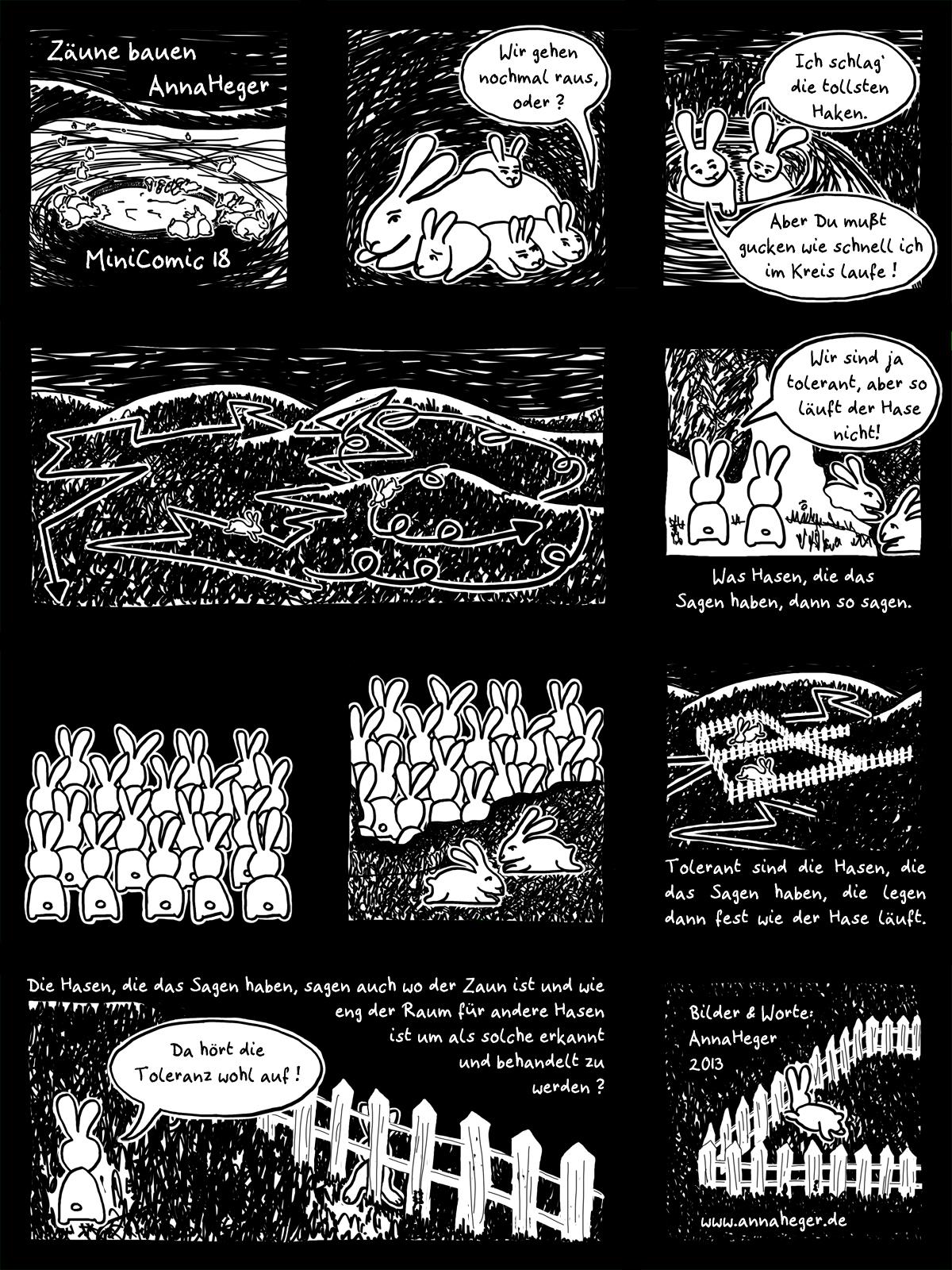 MiniComic 18 Zäune Bauen, das ganze Comic wird im folgenden in reinen Text transkribiert