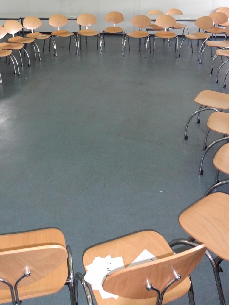 Alle Pronomenkarten lagen in der Mitte vom Stuhlkreis.