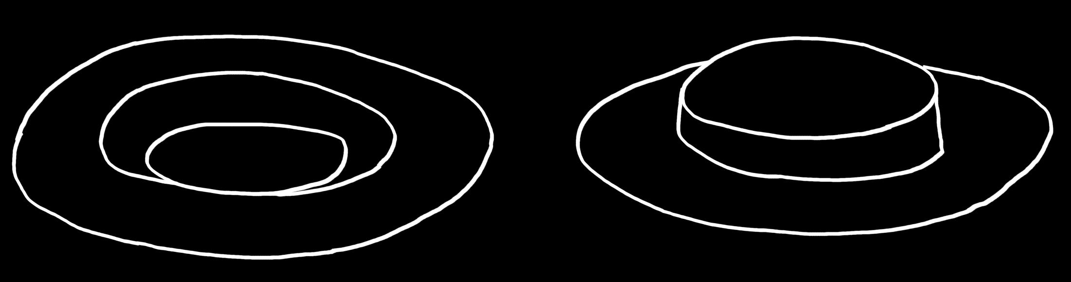 Digitale Zeichnung: weisse Linien auf schwarzem Grund. Ein Hut von oben und daneben ein Hut von unten.