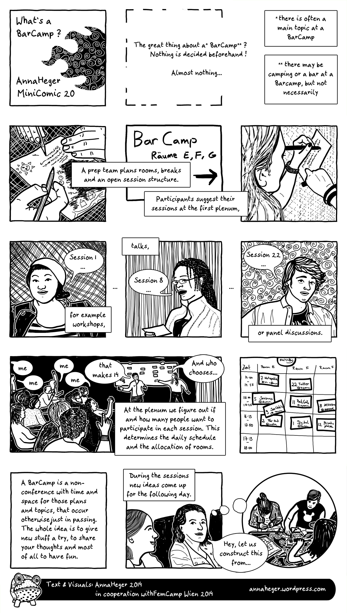 Minicomic 20 : What's a BarCamp?, the entire comic is transcribed to plain text