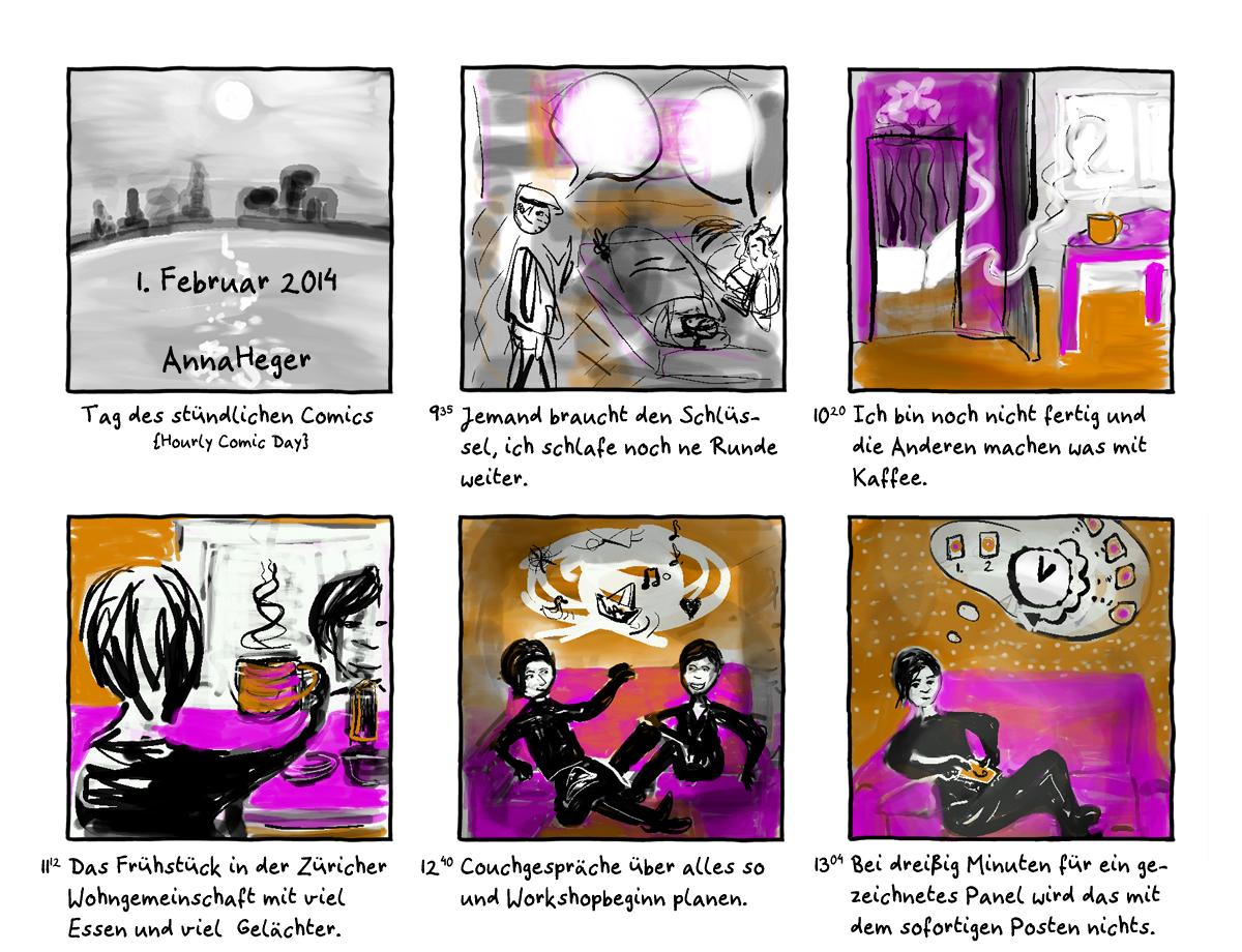 Stündliches Comic vom 1. Februar 2014, das ganze Comic wird im folgenden in reinen Text transkribiert