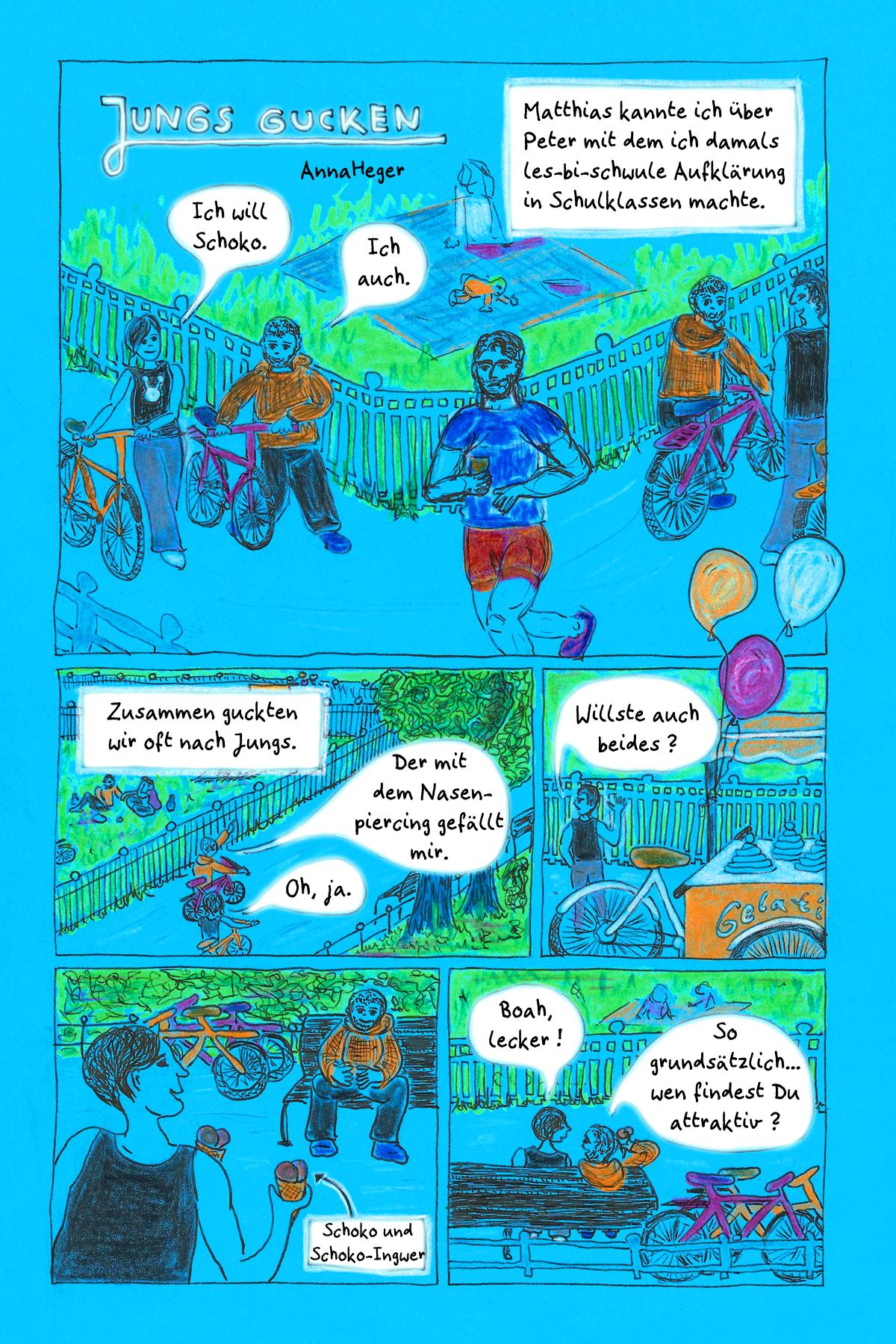 Comic Jungs Gucken Seite 1/2, das ganze Comic wird im folgenden in reinen Text transkribiert