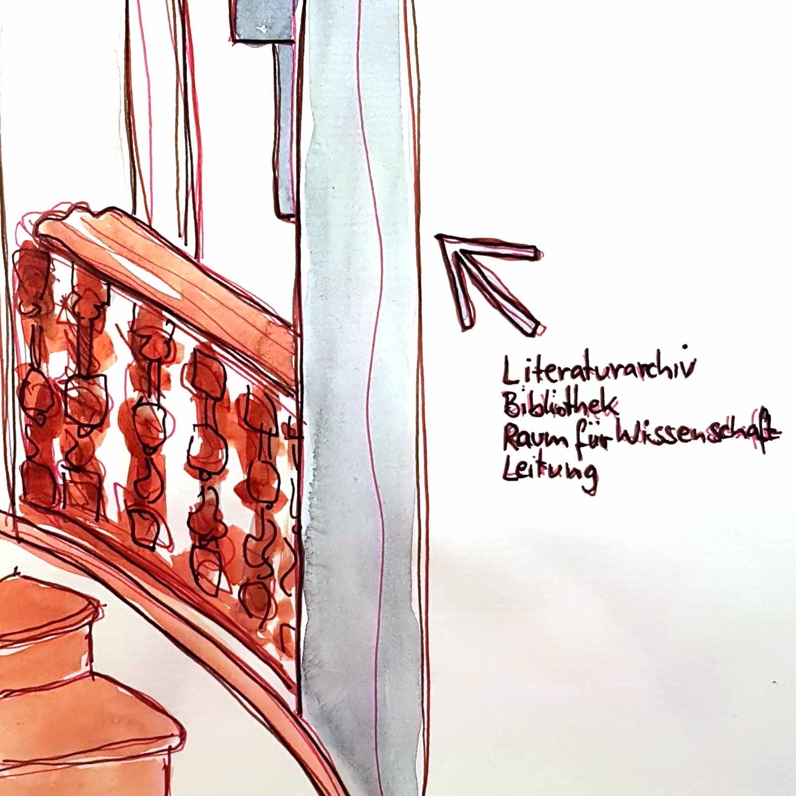 Treppe zum Literaturarchiv
