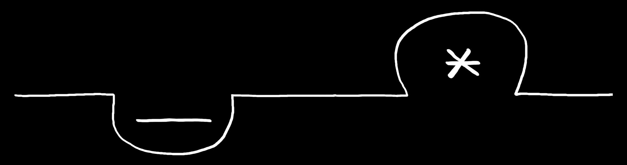 Digitale Zeichnung: eine waagerechter weisser Strich auf schwarzem Grund um geht einen Unterstrich nach unten herum und ein Sternchen nach oben herum.