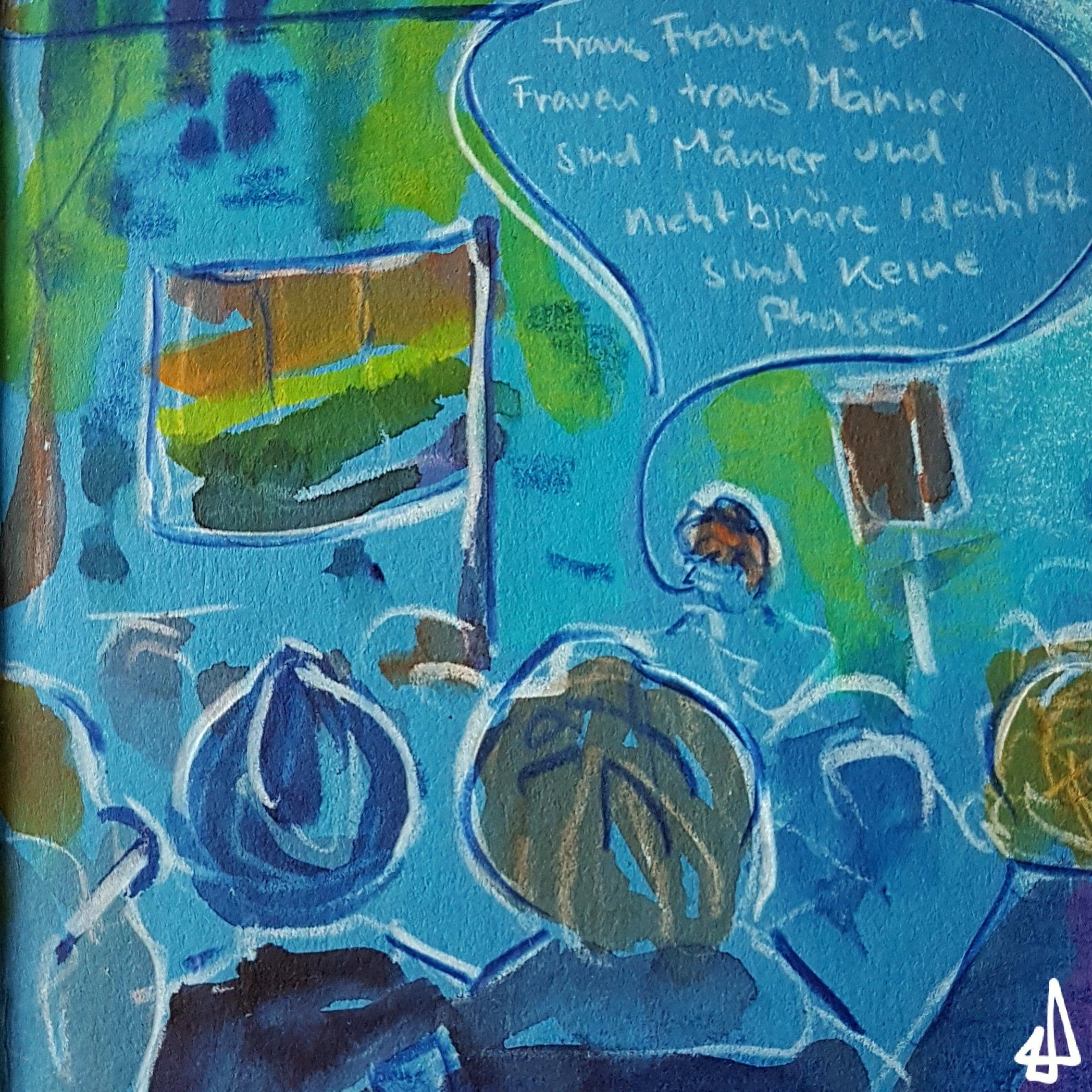 Buntstiftzeichnung auf blauem Karton mit Aquarell koloriert. Menschenmenge schwingt Regenbogenflaggen und hört Sprecher_in zu: trans Frauen sind Frauen, trans Männer sind Männer und nonbinary ist keine Phase.