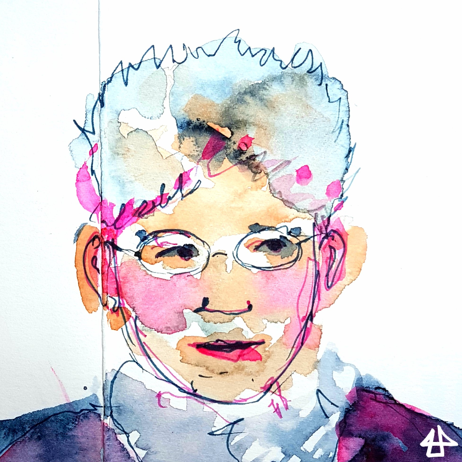 Finelinerzeichnung mit Aquarall fleckig koloriert, Mensch mit ovaler kleiner Brille und grauen Haaren schaut vorsichtig nach rechts.