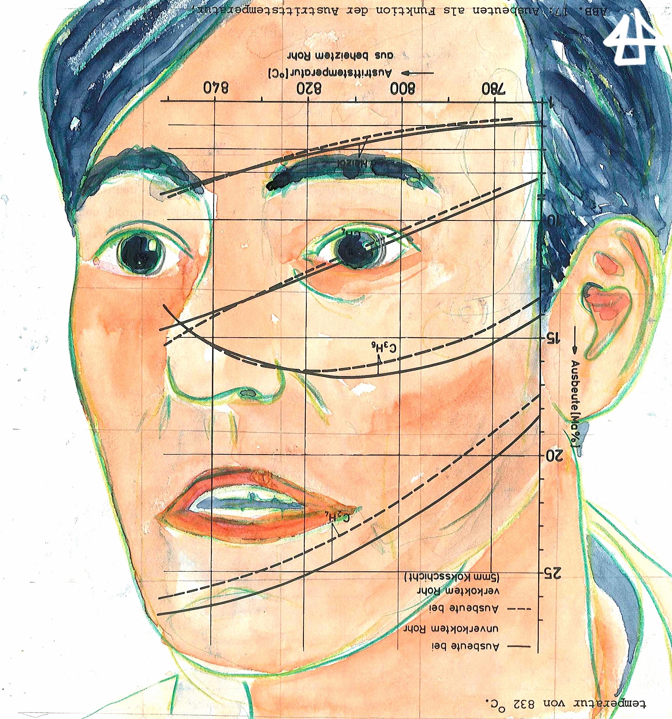 Zeichnung mit Buntstiften und Aquarell. Gesicht eines weißen Mannes mit weit aufgerissenen erstaunten Augen.