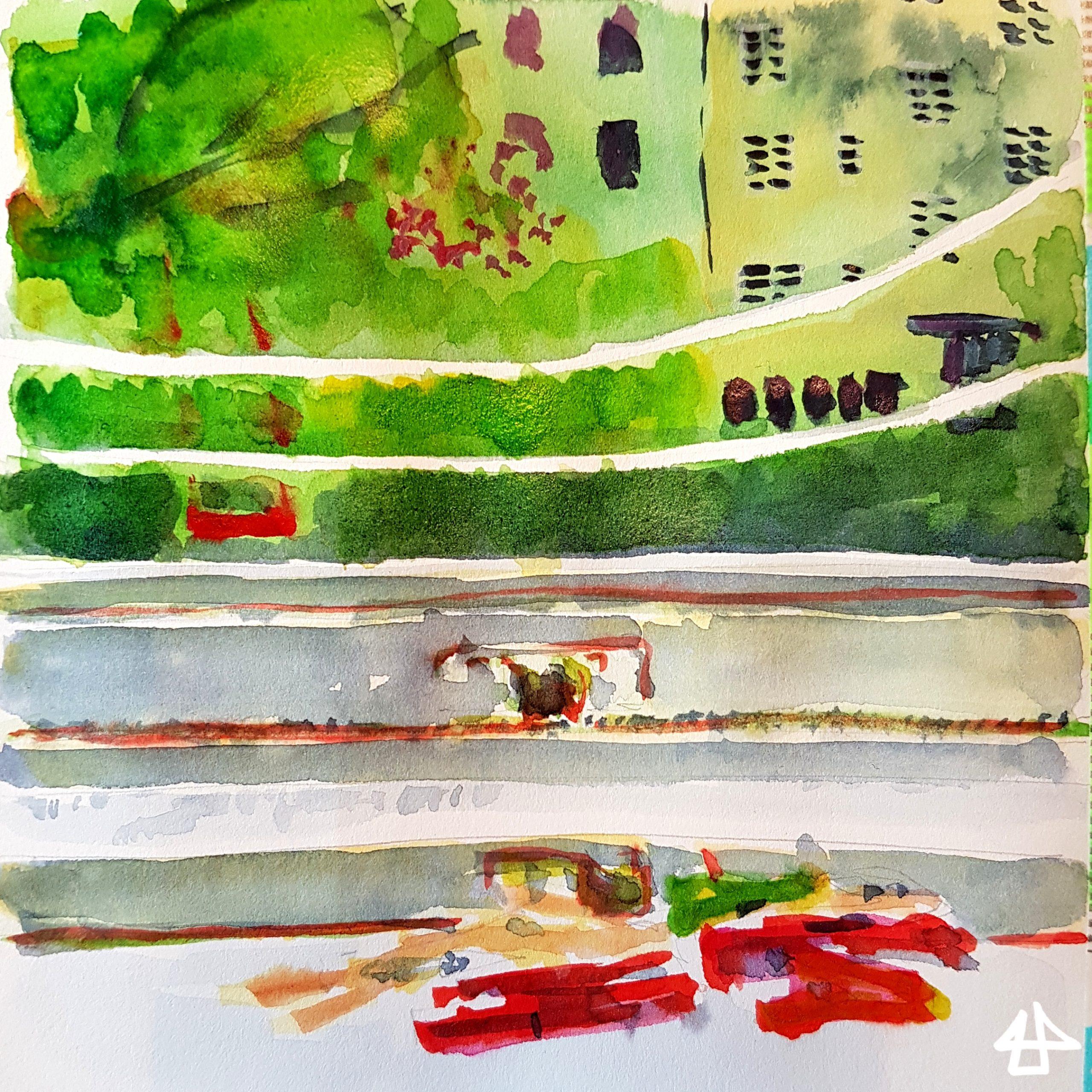 Zeichnung mit Buntstiften und Aquarell. Bunten Wäscheklammern liegen auf einem Fensterbrett, der Blick fällt in den Hof und zu den gegenüberliegenden Häusern.