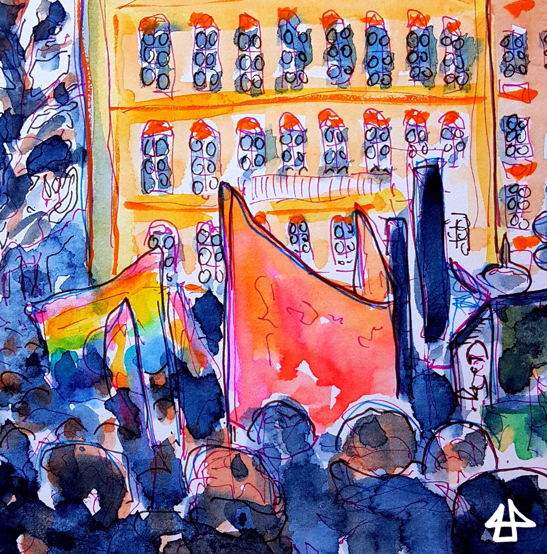 Kolorierte Finelinerzeichnung einer Demonstation, im Hintergrund Häuser des Münchner Marienplatz, im Vordergrund eine Menschenmenge, Regenbogenfahnen und ein großes rotes Transparent von der Rückseite.