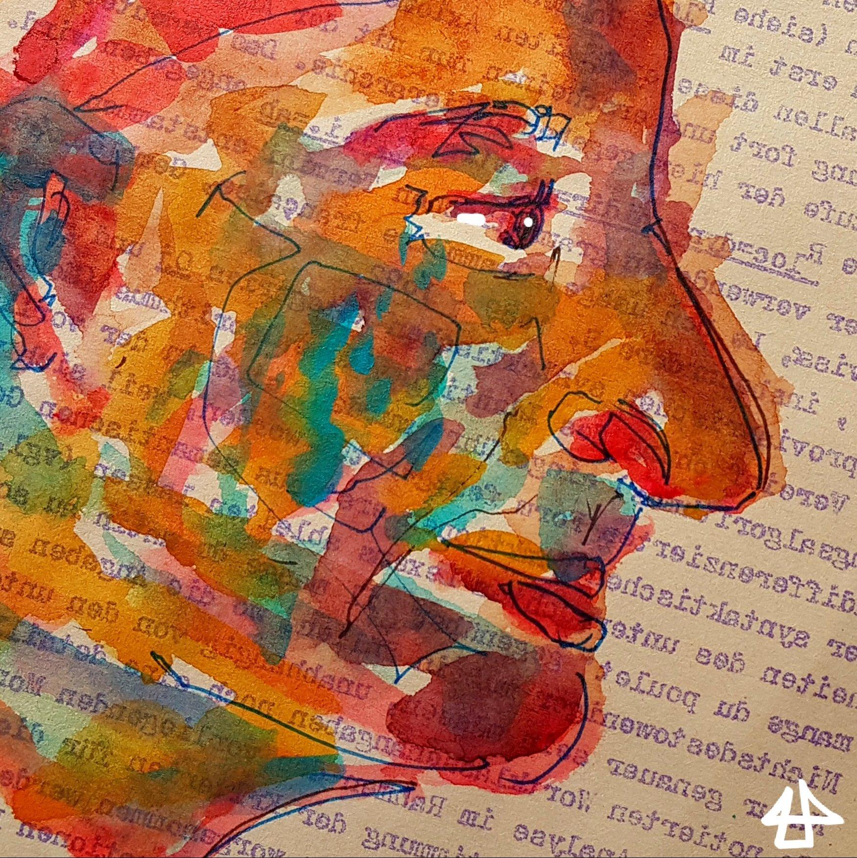 Profil einer Person mit großer Nase, die entspannt nach unten schaut, Fineliner und bunte Aquarellfarben.></p> </div><!-- .entry-content -->  <footer class=