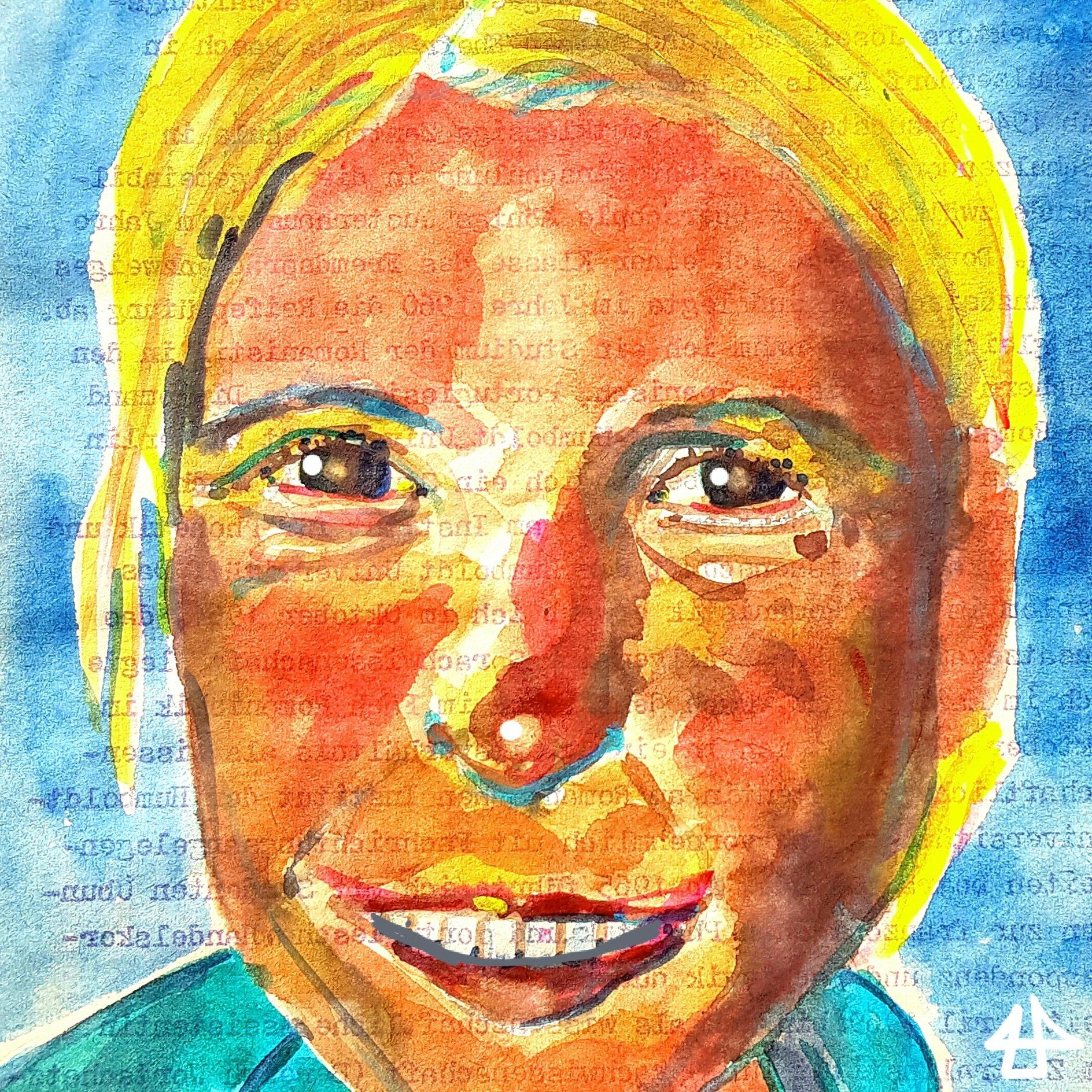 Porträt einer Frau mit gelbblonden nach hinten gebundenen Haaren und rötlichem Gesicht: Bunstitfte und Aquarellfarben.