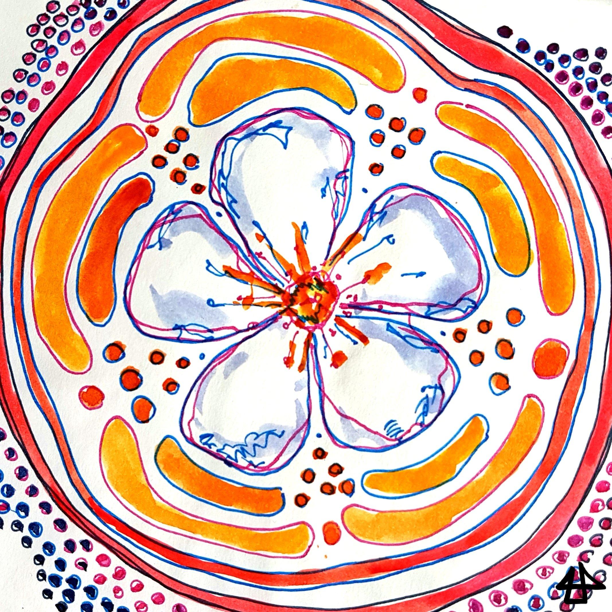 Dekorative, symmetrische Zeichnung. Eine Apfelblüte in der Mitte, umgeben von Punkten und Symbolen, Fineliner und Aquarell.