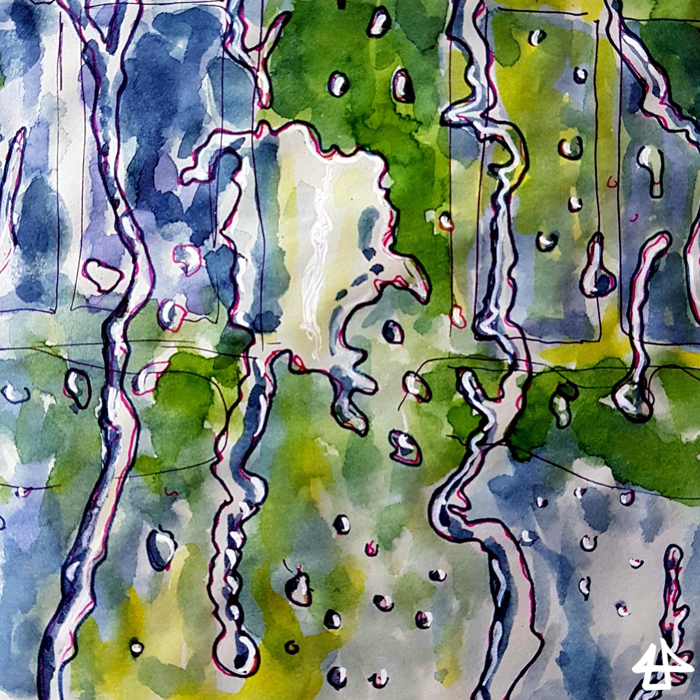 Aquarellierte Zeichnung: Tropfen rinnen eine Glasscheibe herunter, dahinter in Grüntönen unscharf ein Gebäude.