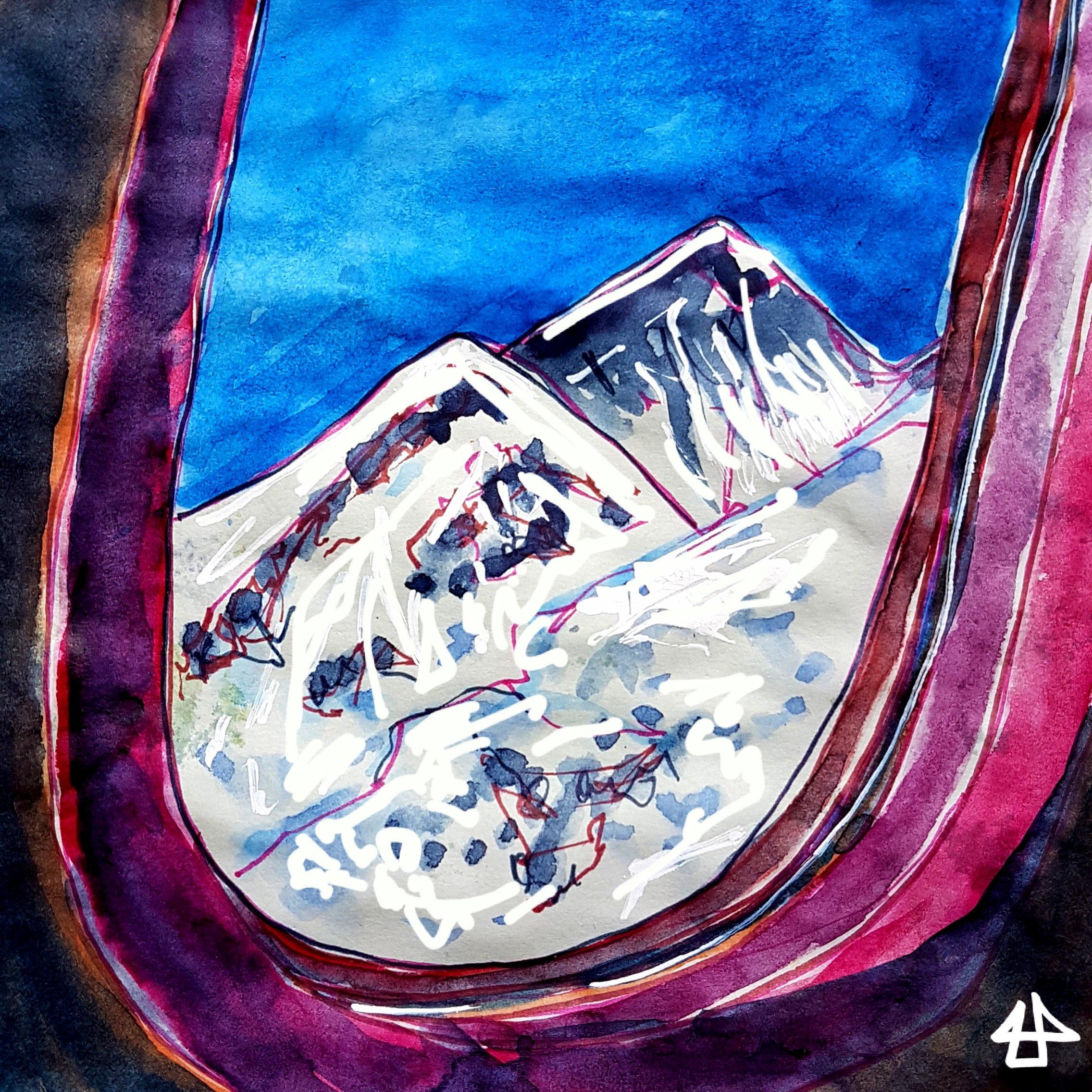Aquarellierte Zeichnung: Blick aus einem Flugzeugfenster auf die Spitzen des Mount Everest, alles in Blau und Lilatönen.