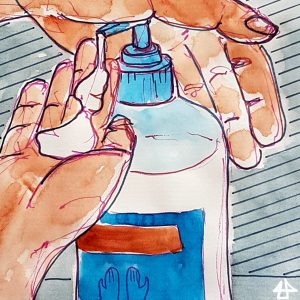 Aquarellierte Finlinerzeichnung von Nahaufnahme von Händen, Spritzs Flüssigseife in die andere.