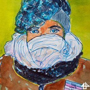 Aquarellierte Buntstiftzeichnung Frau mit blauen Locke mit Stirnband und Schal bis zur Nase.