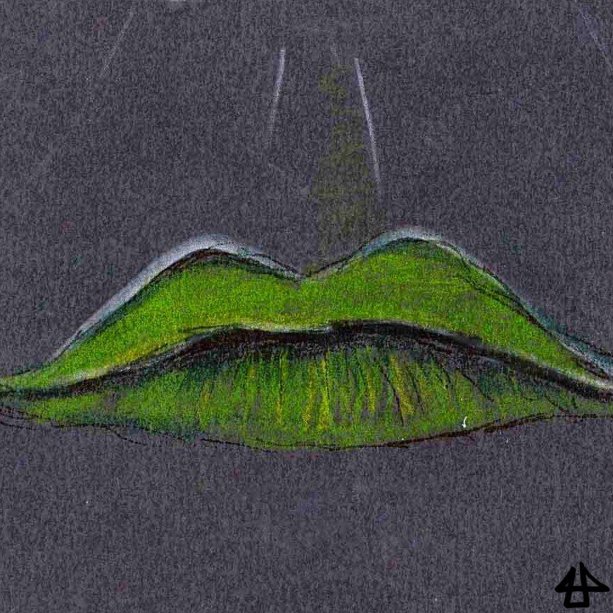 Tinte und Buntstift auf dunkelgrauem Karton: grüne Lippen mit weißer Umrandung auf dunkelgrauem Hintergrund
