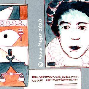 Zeichnung mit Fineliner und Aquarellfarbe, rot-blaue Fahne mit Symbolen und Farbflächen, Bildnis von Erika Mann mit Halskrause und Kranz in den Haaren und Schriftzug: Dieses Vorkommnis war es, das mich weckte, ein folgenreicher Tag