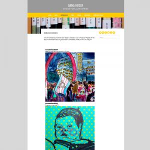 Screenshot sei Seite immerzeichnen auf der Webseite annaheger.de, mit drei Beispielen gemalter Bilder