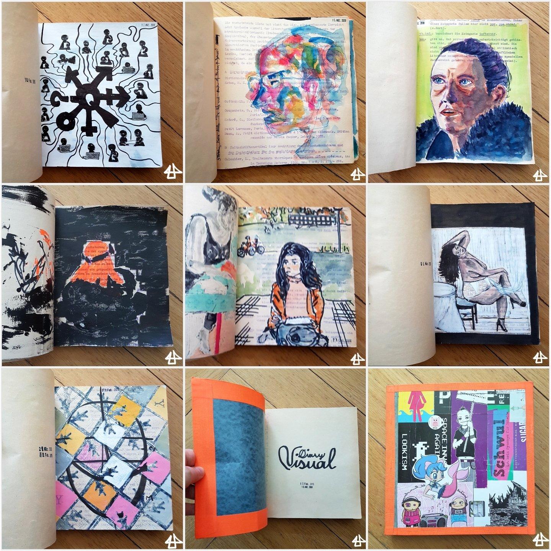 9 Fotos von Seiten eines Skizzenbuches mit verschiedenen bunten Porträts von Menschen.
