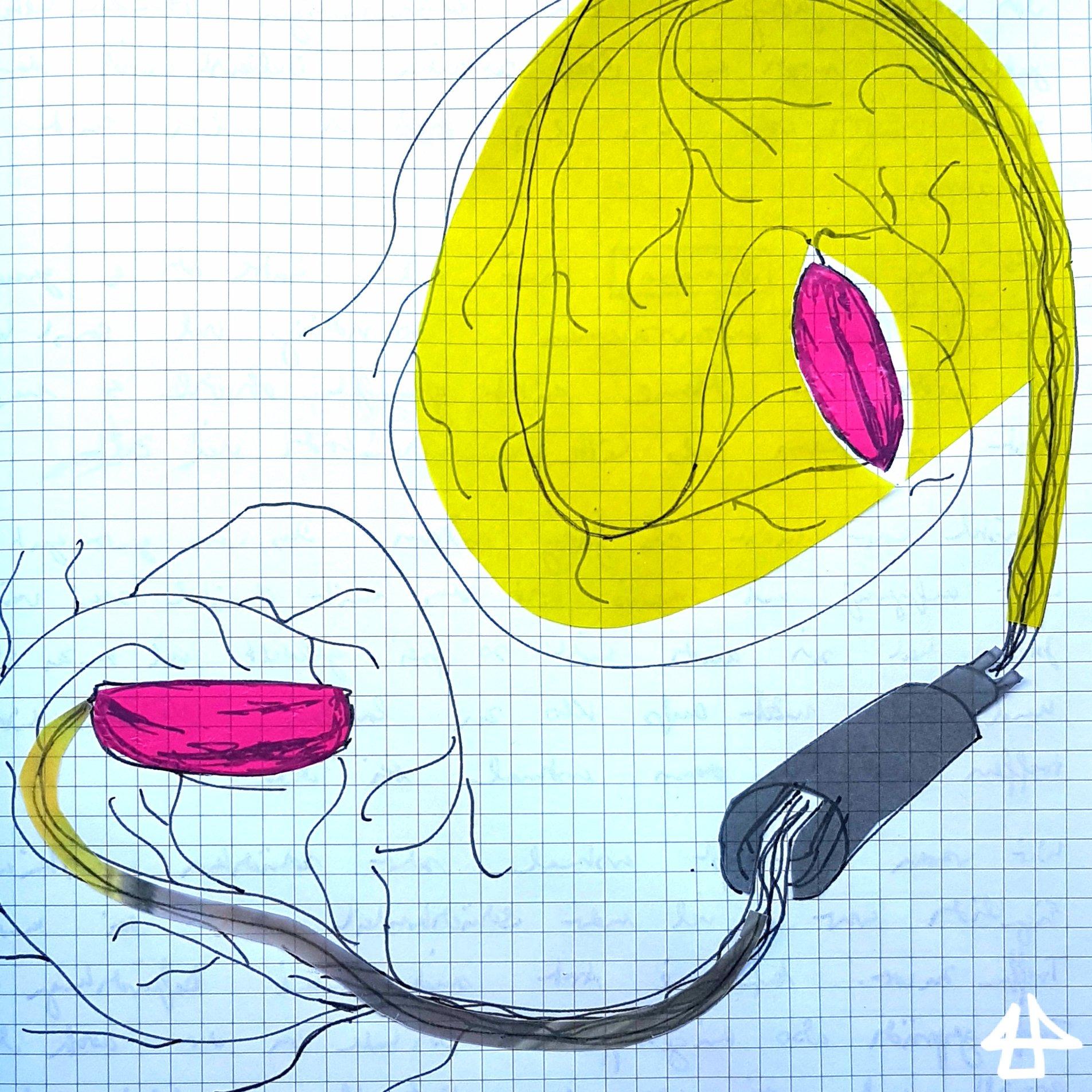 Zeichnung auf kariertem Papier. Längliche pinke Kirschkerne, die miteinander verbunden sind. Dazu gelbe Flächen.