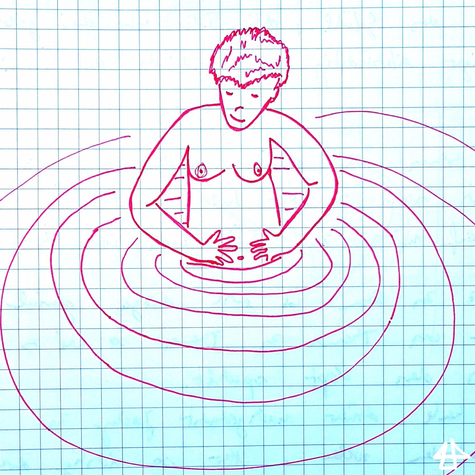 Roter Fineliner auf kariertem Papier, kurzhaarige Person mit freien Oberkörper und Brüsten steht bis kurz unter dem Bauchnabel im Wasser, dass kreisförmig Wellen macht.