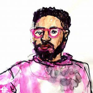 Zeichnung mit Markern und Aquarell, bärtiger junger Mann mit pink geränderter Brille und hellrosa Pullover.