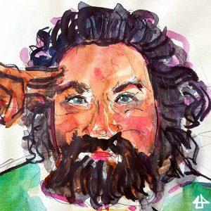 Zeichnung mit Markern und Aquarell, pausbäckiger Mann mit wilden Locken und längerem Bart und grünem Pullover.