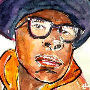 Aquarellporträt: Person mit breitekrempigen schwarzen Hut und schwarzer grossrahmiger Brille.