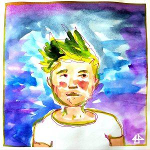 Finelinerporträt mit Aquarellkollorierung: Mensch mit grünen Haaren, roten Wangen und weißem T-Shirt.