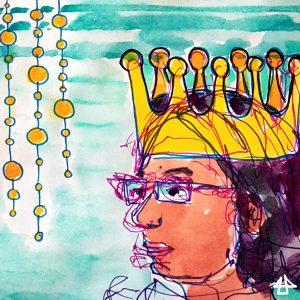 Finelinerporträtzeichnung mit Aquarellkollorierung: Person mit übergrosser goldener Krone und Brille.