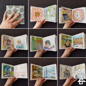 9 zusammengefügte Fotos eines Skizzenbuchheftes auf verschiedenen Seiten aufgeschlage.