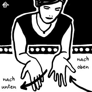 schwarzweisse digitale Zeichnung - Person in schwarzem Tanktop hält beide Hände aus dem Fenster. Die Linke bewegt sich runter, daneben der Schriftzug 'nach unten' und die Rechte hoch mit Schriftzug 'nach oben'