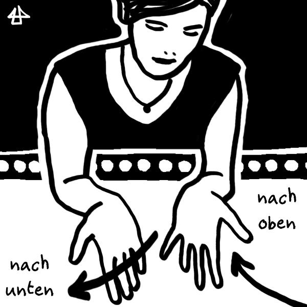 schwarzweisse digitale Zeichnung - Person in schwarzem Tanktop hält beide Hände aus dem Fenster. Die Linke bewegt sich runter, daneben der Schriftzug 'nach unten' und die Rechte hoch mit Schriftzug 'nach oben'.