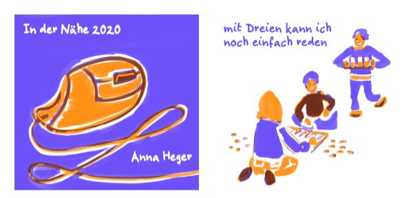 zweifarbiger digitaler Comic in orange und blau, das ganze Comic wird im folgenden in reinen Text transkribiert