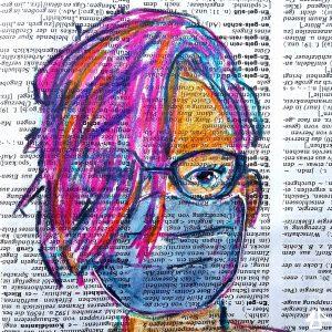 Buntstiftzeichnung auf Wörterbuchpapier, weisser Mensch mit pinken Haaren, geschwungener Brille und blassblauer Mund-Nasen-Maske.