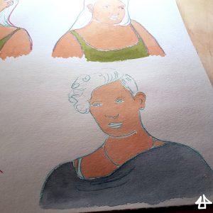 Buntstiftzeichnung von Menschen auf Aquarellpapier mit unvollständiger Aquarellkollorierung
