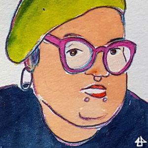 Aquarell mit Buntstift: Gesichtsausschnitt von Person mit pinker Brille und gelber Mütze