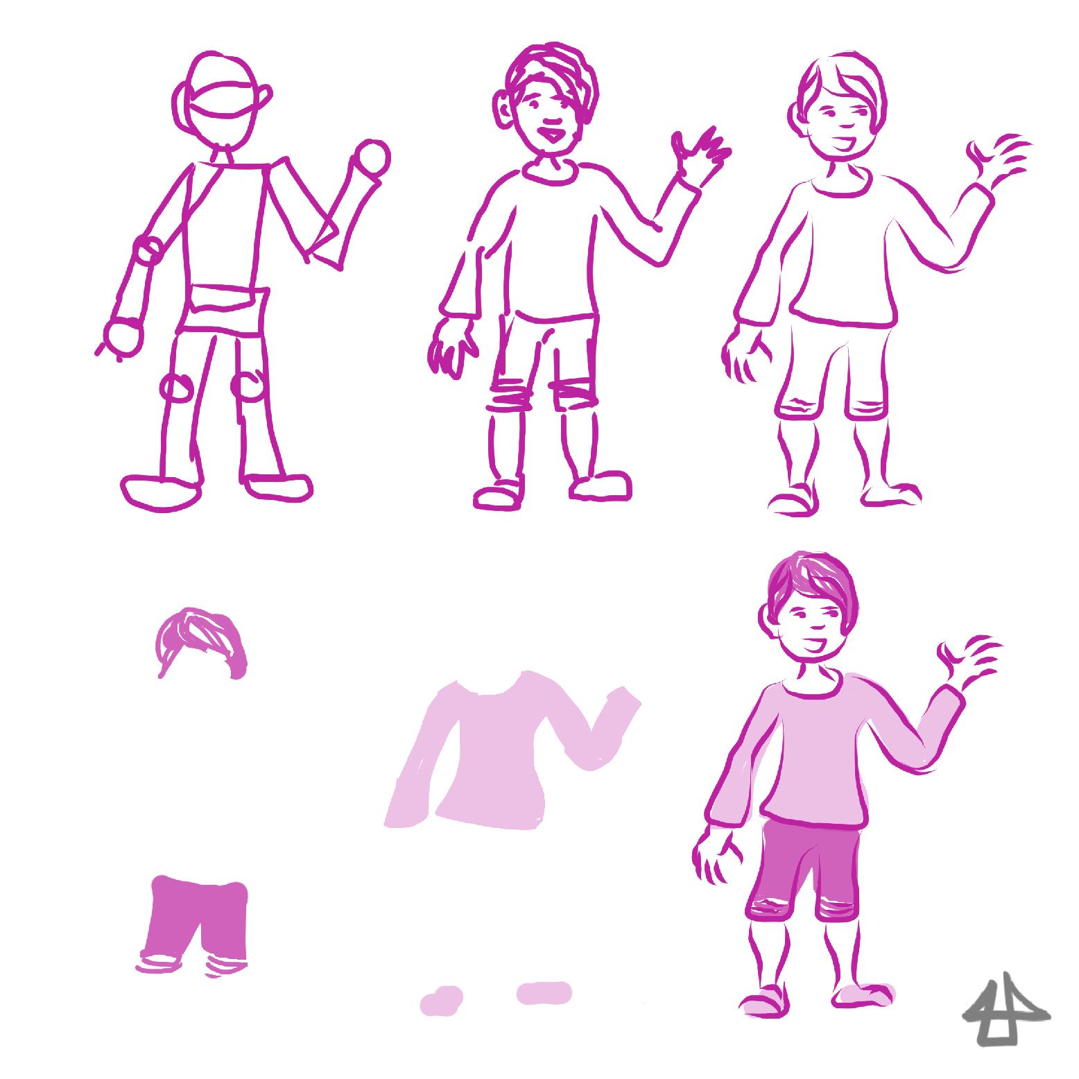 Digitale Zeichnung einer Person in pink, erst grob dann immer detailierter.