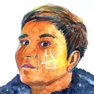 detailiertes Selbstportrait von Illi Anna Heger mit Buntstiften und Aquarell auf Papier