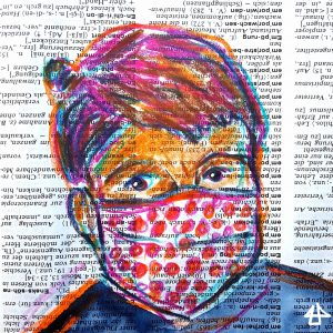 Colored pencil sketch on dictionary page, white person with short brownish magenta hair and white face mask with red dots on it.